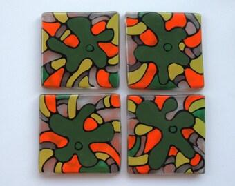 Fused glass tiles,glass tiles,painted fused tiles,green orange fused tiles,kitchen tiles,home decor tiles,gift for home