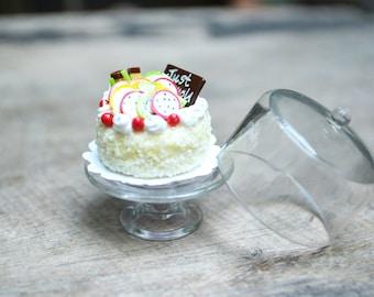 Handmade Miniature Wedding Cake on the Stand