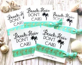 Beach Hair Don't Care! Hair Tie Favors / Flamingo & Palm Tree Gold Hair Ties / Let's Flamingle / Bachelorette Hair Bands / Spring Break