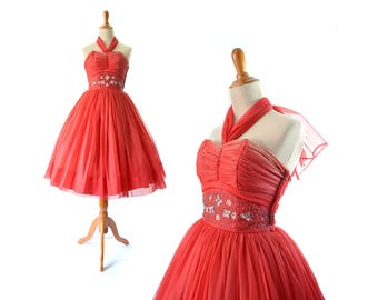 1950s Dress, Red 50s Dress, Prom Dress, Party Dress, Cocktail Dress, Formal Dress, XS Dress, Small Dress, Vintage Dress Vintage Prom Dress