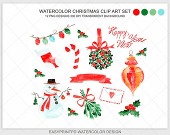 Christmas Watercolor Clipart, Xmas Noel Clip Art, Hand painted snowman illustration image, PNG,  Digital Christmas pattern, EasyPrintPD