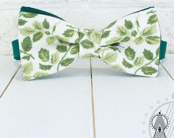 Floral Bow Tie, Green Bowtie, Cotton bow tie, Foliage, Men's bow tie, Women's bow tie, Children's bow tie