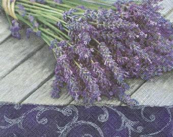 4 Decoupage Napkins, Paper Napkin for Decoupage, Lavender Bouquet, Craft Napkin, Lavender Napkin, Decoupage Paper