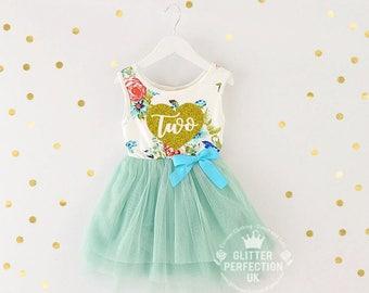 Second Birthday Dress,Toddler Tutu Dress, 2nd Birthday Dress,Cake Smash Outfit,Party dress, Gold-Heart , Light Green tutu, floral tutu dress