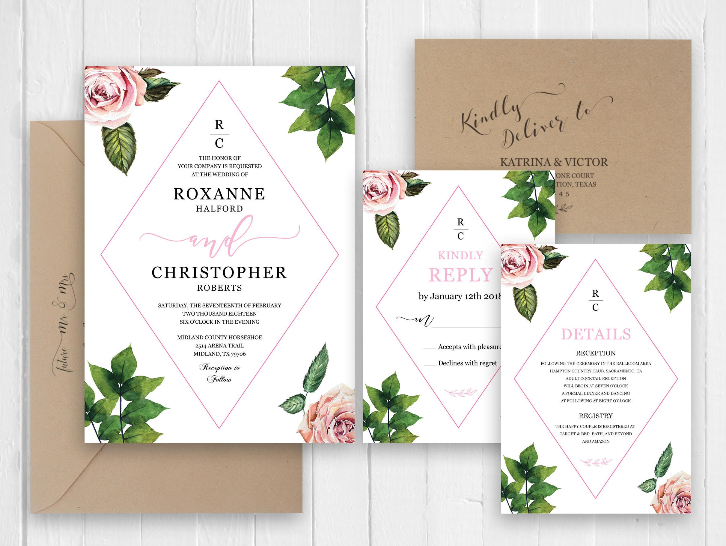 Pink Watercolor Roses Wedding Invitations RSVP Details Menu Elegant