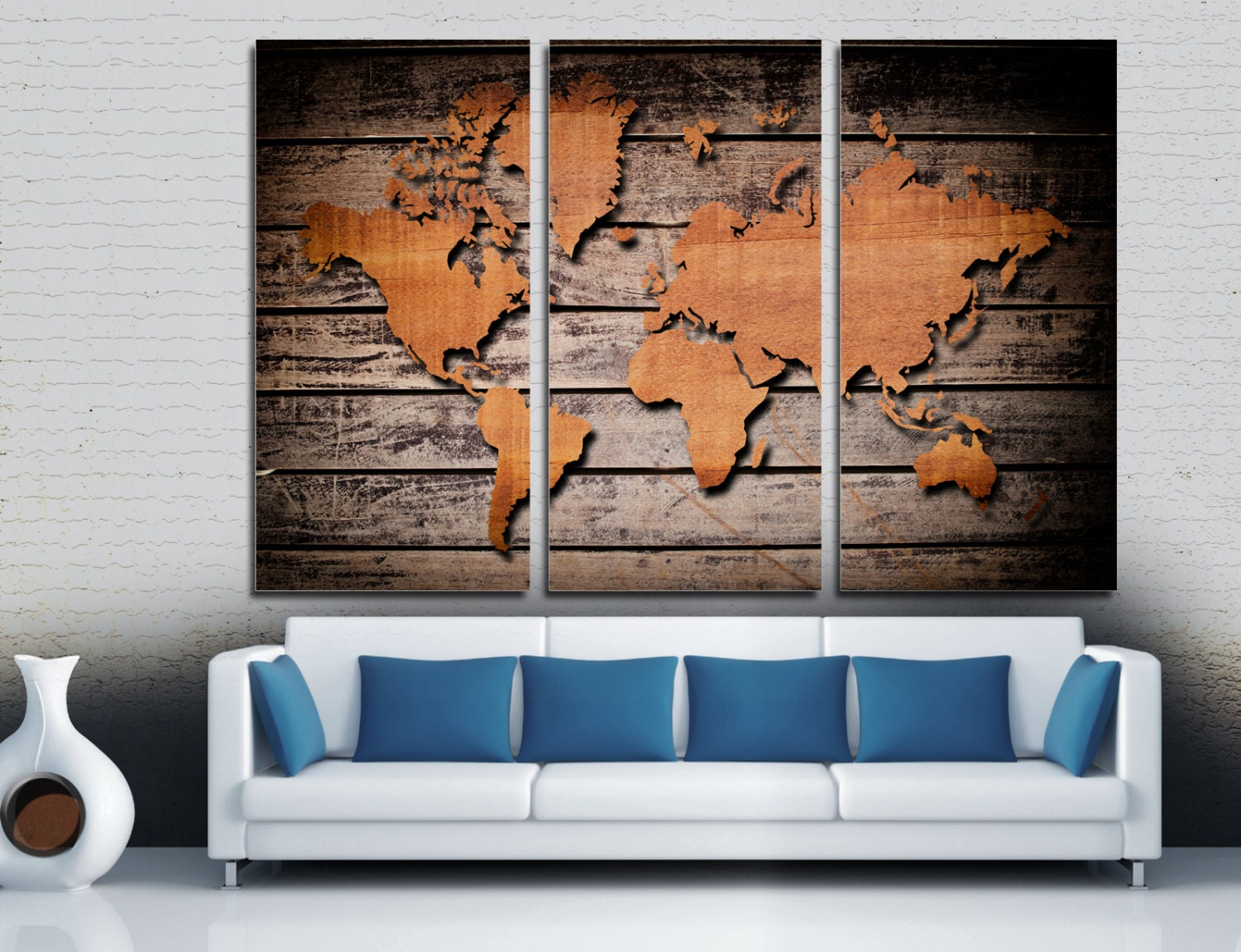 Wood style world map canvas print 3 panel split triptych zoom gumiabroncs Images