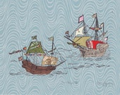 Two Ships III - Block Print with Mixed Papers - Lino Block Print Historic Sailing Ships, Exploration, Collaged Japanese Papers