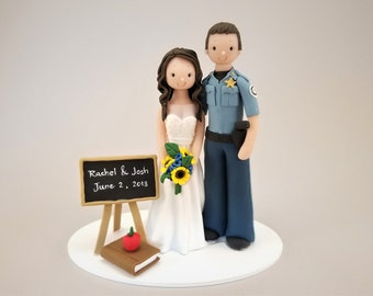 Unique Cake Toppers - Teacher & Sheriff Customized Wedding Cake Topper by MUDCARDS