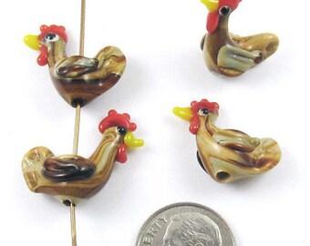 Glass Lampwork Hen Bird Beads-Tan Earthy Chicken 20x16mm (4 Pieces)
