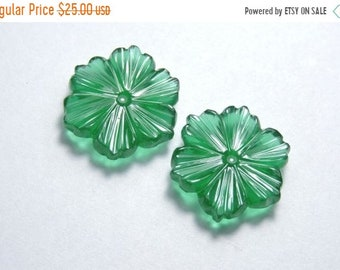 25% OFF Summer Sale 2 Pcs Matched Pair New Arrival Beautiful Natural Green Onyx Hand Carved Flower Shaped Loose Gemstone Size 20X20 MM