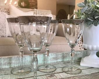 Glastonbury Lotus set of Four Platinum Encrusted Trim Rambler Rose 1125 Platinum Wine Glasses Optic TYCAALAK