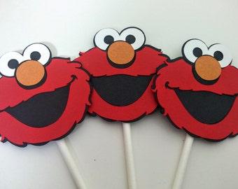 Elmo Cupcake Toppers, Elmo Birthday, Sesame Street, Sesame Street Birthday, Set of 12, Elmo Birthday Party