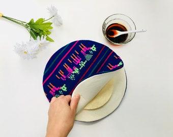 Blue Tortilla Warmer, Tortillero, Tortilla Keeper, Aztec Wedding Favor, Mexican Tribal Housewares, Kitchen Utensils, Taco Fiesta Party