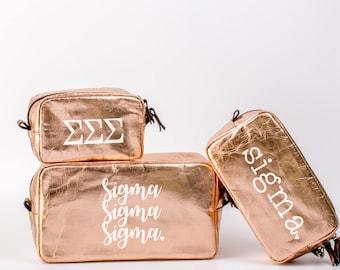 Sigma Sigma Sigma Cosmetic Bag Set / Sigma Travel Bag / Sorority Cosmetic Bag Set of 3 / Sigma Sigma Sigma Sorority Makeup Bag / Bid Day