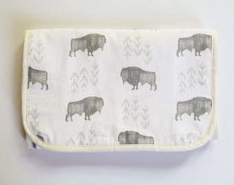 Bison Travel Changing Pad - Diaper Changing Pad - Baby Changing Pad - Baby Shower Gift - Gift for Mom