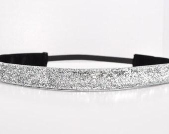 Glitter Headband - Silver Headband - Sparkle Headband - Team Headbands - No Slip Headband - Running Headband - Dance Headband - Cheer Hair