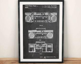 Stereo Speaker System Boombox Patent Art Poster