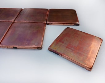 Accent tiles, Backsplash , Set of 8 brown patinated copper  tiles ,copper decor, artistan tiles , rustic tiles, outdoor tiles