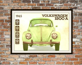 Volkswagen 1965 August Volkswagen Beetle Type 1 1200A Bug Owners Manual Cover - Vintage Car Manual - Print Art Item Men's Art Gift 0127