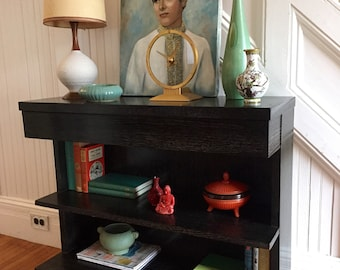 BLACK CERUSED CONSOLE Bookcase Midcentury c1950s Single Drawer with Shelves Below Vintage Retro