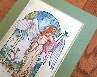 Matted 4x6 Art Print Angel of Spring Winged Goddess Seasons with Butterflies, Lilies, and Luna Moth Seasonal Series Art Nouveau Mucha Style