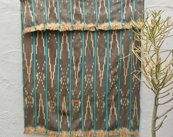 Vintage African Baule Cloth with Indigo and Orange, Indigo Textile, Tribal textile, African Fabric, Hand woven cotton throw ethnic fabric 13