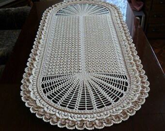 Large lace crochet table runner Oval cream crochet doily Table decor Birthday gift Housewarming gift Mother's Day gift  Wedding gift