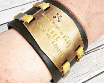 Leather Cuff, Leather Bracelet, Cuff Bracelet, Black Leather Cuff, Inspirational Jewelry, Leather Wristband, Womens Gift, Leather Jewelry