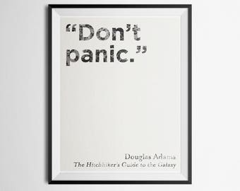 Don't Panic Minimalist Literary Quote Poster Douglas Adams Hitchhiker's Guide to the Galaxy Print