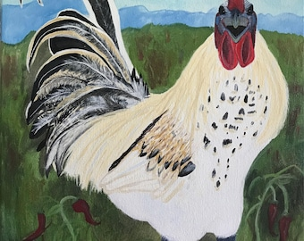 Mosaic Rooster Painting