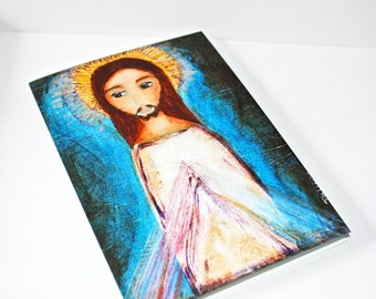 Divine Mercy - Greeting Card 5 x 7 inches - Folk Art By FLOR LARIOS