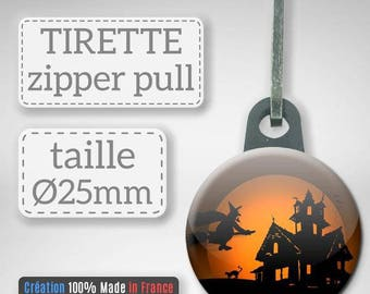 Halloween decor witch haunted house gift party Badge pull Zipper 25 mm