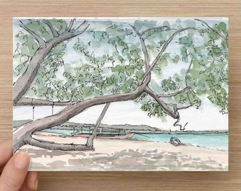 Watercolor Painting of Shade Tree on Caribbean Island - Beach, Sand, Ocean, Ink Drawing, Sketch, Watercolor, Art, Pen and Ink, 5x7, 8x10