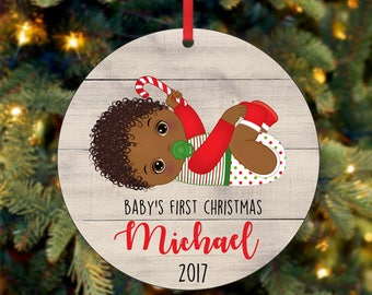 Baby's First Christmas Ornament, Personalized Christmas Ornament, Custom Ornament, African American Christmas Ornament, 2017 Ornament (0040)