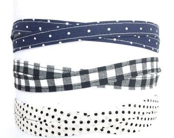 Black and Navy headbands, adjustable headband, headband for women, gift for her, gift under 10, fabric thin headbands, tween headband