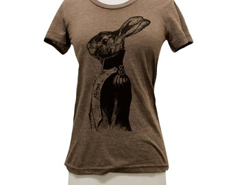Sir Rabbit T-Shirt - Distinguished Bunny  ladies Tri-Blend Shirt - (Available in sizes S, M, L, XL)