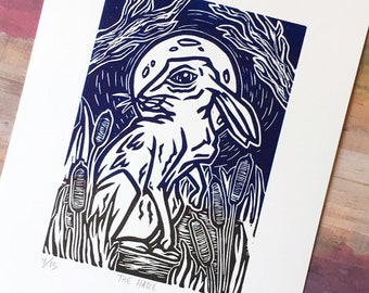 The Hare, Limited Edition of 15, Linocut, Size - 8 x 10 in, Ready to Ship