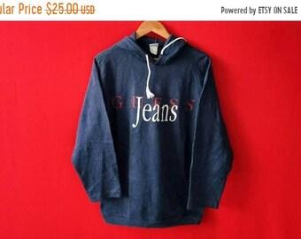 vintage guess jeans hooded sweatshirt mens
