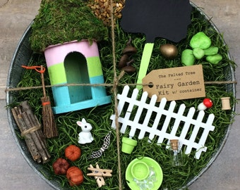 Fairy garden kit with container DIY, pink, green & blue striped round fairy house, galvanized outdoor container