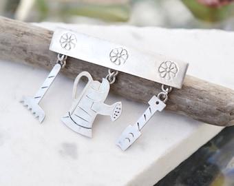 Sterling Silver Gardening Brooch, Sterling Silver Gardener Dangle Pin, Gardener Jewelry, Gardening Jewelry, Gardener Jewelry Gift