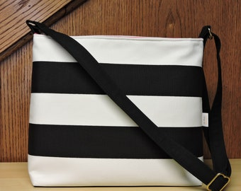 Black and White Striped Conceal Carry Purse, Women's Handbag, CCW Crossbody