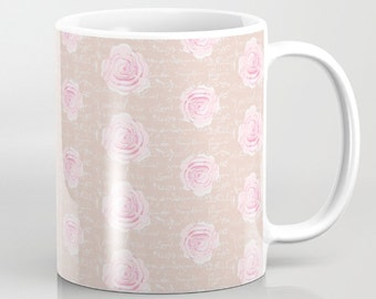 Mug, Shabby Chic Watercolor Roses on Blush, 11 oz and 15 oz