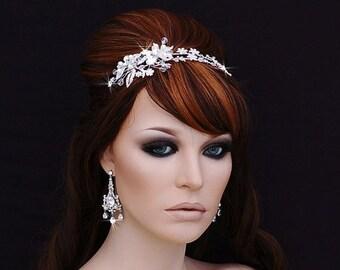 Crystal Headband , Bridal Headpiece , Bridal Hair Accessory , Wedding Headband , Swarovski Crystal Bachelorette Headband