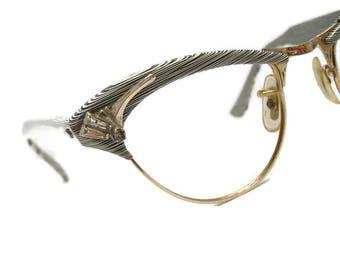 Vintage Zebra Stripped Horn Rim Eyeglasses Eyewear Frame With Accents