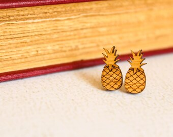 Pineapple Studs, Laser Cut Wood Earrings, Pineapple Earrings, Golden Tropical Fruit, Be A Pineapple, Laser Etched Wood, Sustainable Bamboo