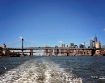 NYC Manhattan and Brooklyn Bridge Photography Print / Manhattan Hudson River New York NYC Wall Art Bridges