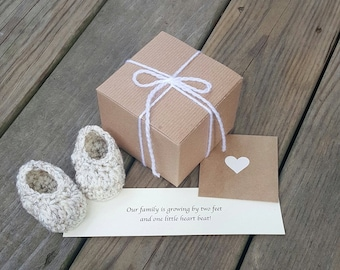 READY TO SHIP, Pregnancy Announcement, Baby Booties, Baby Reveal, Pregnancy Reveal To Grandparents, Pregnancy Reveal, Gift,Handmade