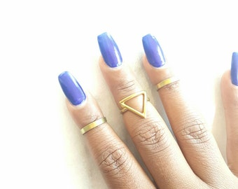 Brass midi ring set-triangle ring set brass band-  adjustable brass rings