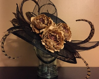Black and Tan Showstopping Derby Hat