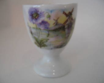 Vintage China Egg Cup With Windmill Landscape Picture